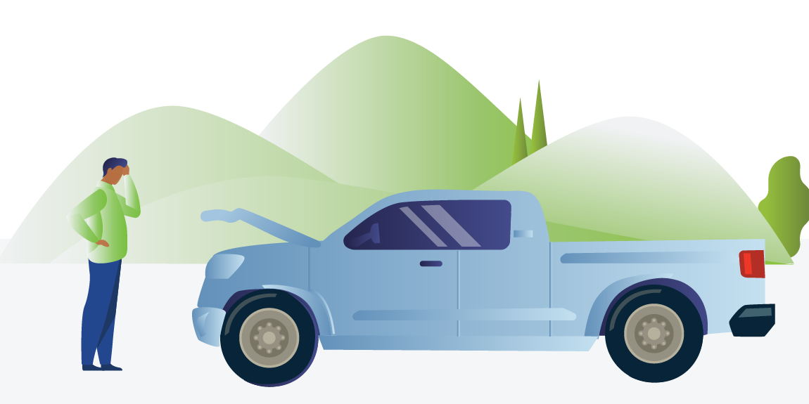 Totaled truck in GAP waiver featured illustration - RateGenius